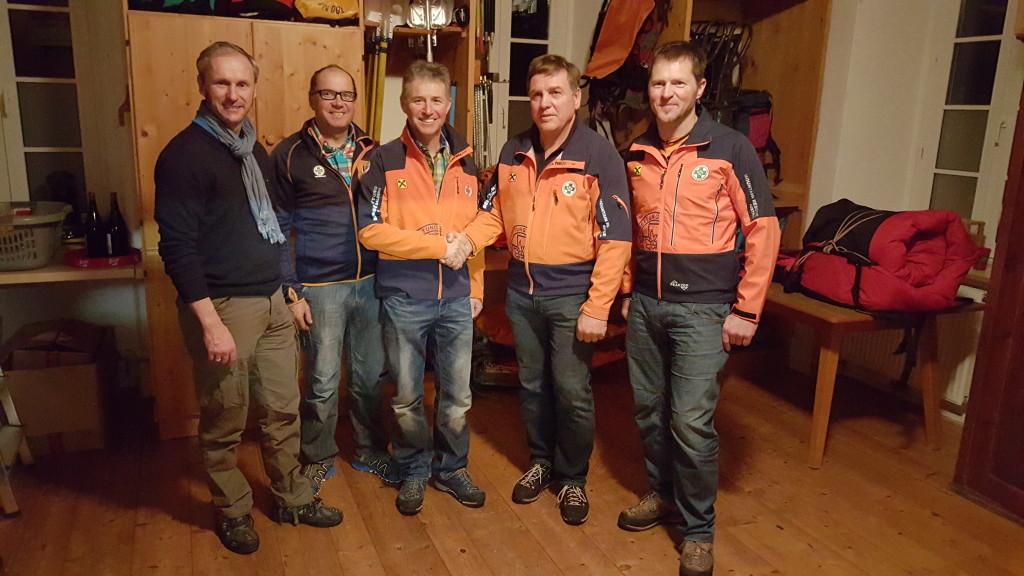 Bürgermeister Erich Czerny, Sepp Bachmair, Hansjörg Bachmair, Peter Nothdurfter und Armin Bachmaier